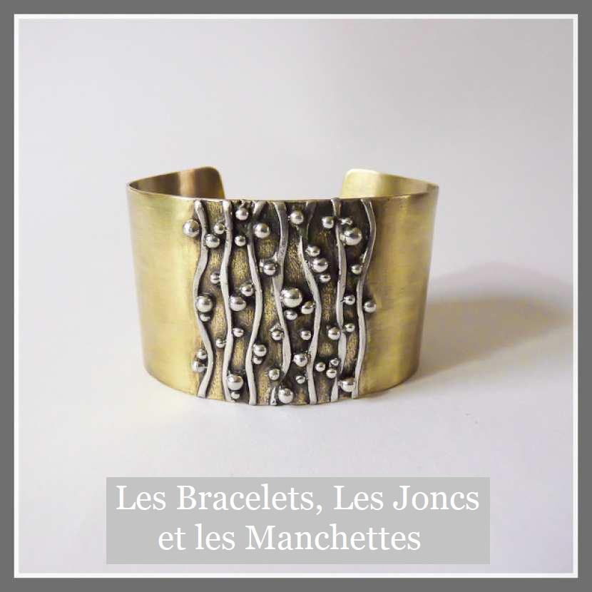 Bracelet manchette en laiton, fil et perle d'argent