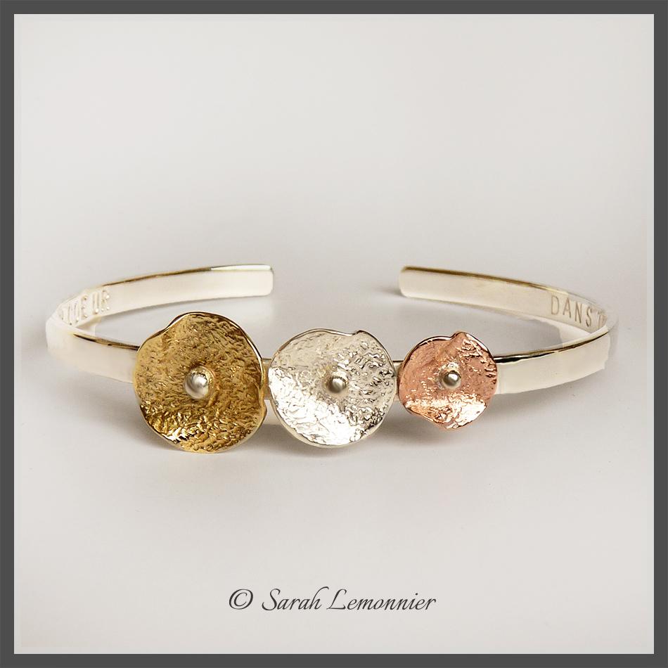 Bracelet 3 fleurs en argent cuivre et laiton réticulé