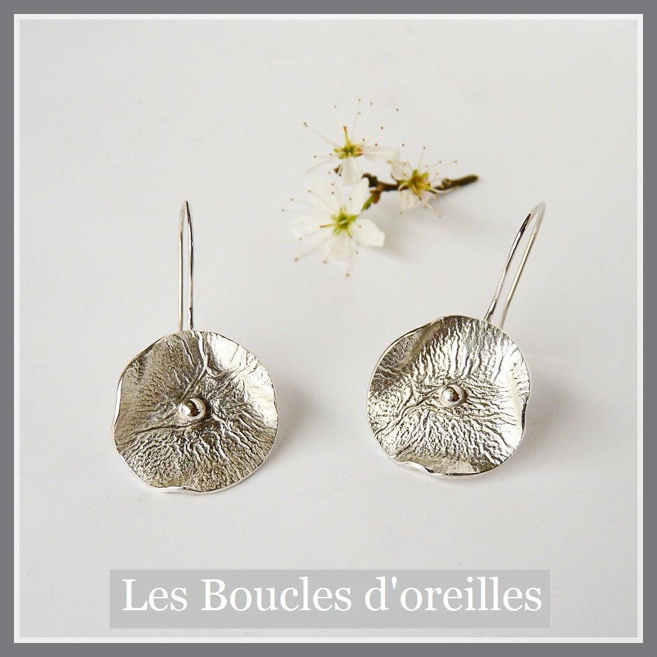 Boucles d'oreilles fleur champêtre en argent réticulé